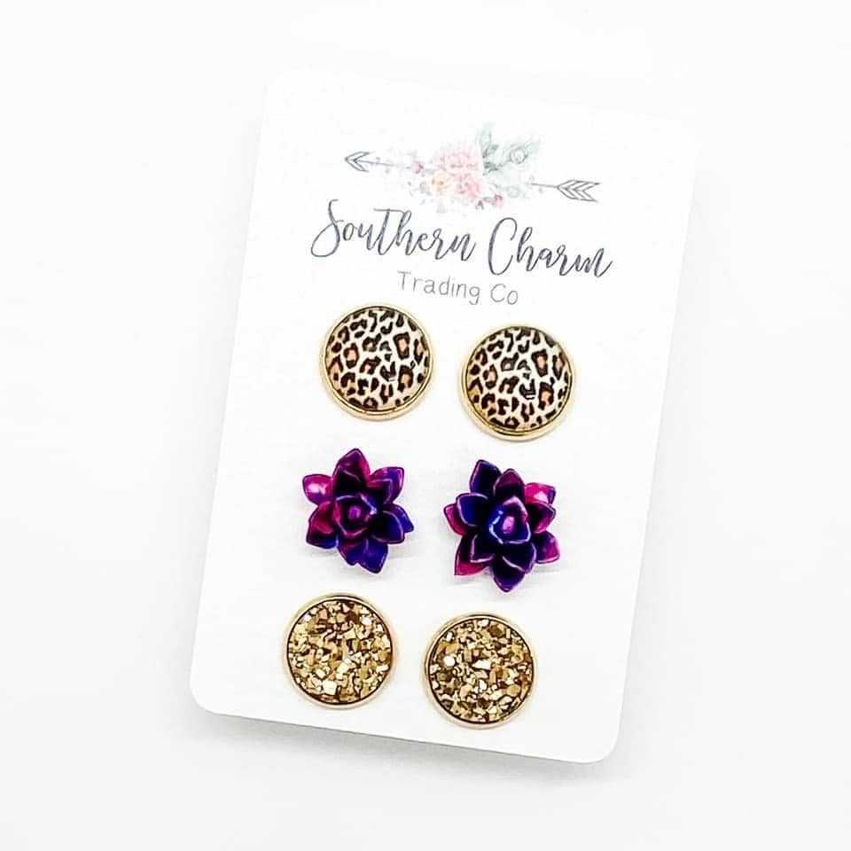 Golden Leopard/Magenta & Blue Succulents/Gold Studs in Gold Settings
