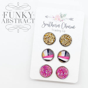 Hot Pink Glitter/Pink, Black, Gold Abstract/Gold Studs in Stainless Steel Settings