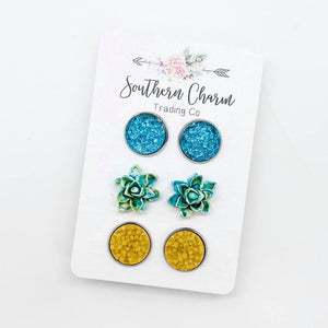 Teal/Teal & Gold Succulents/Yellow Sparkles in Stainless Steel Setting