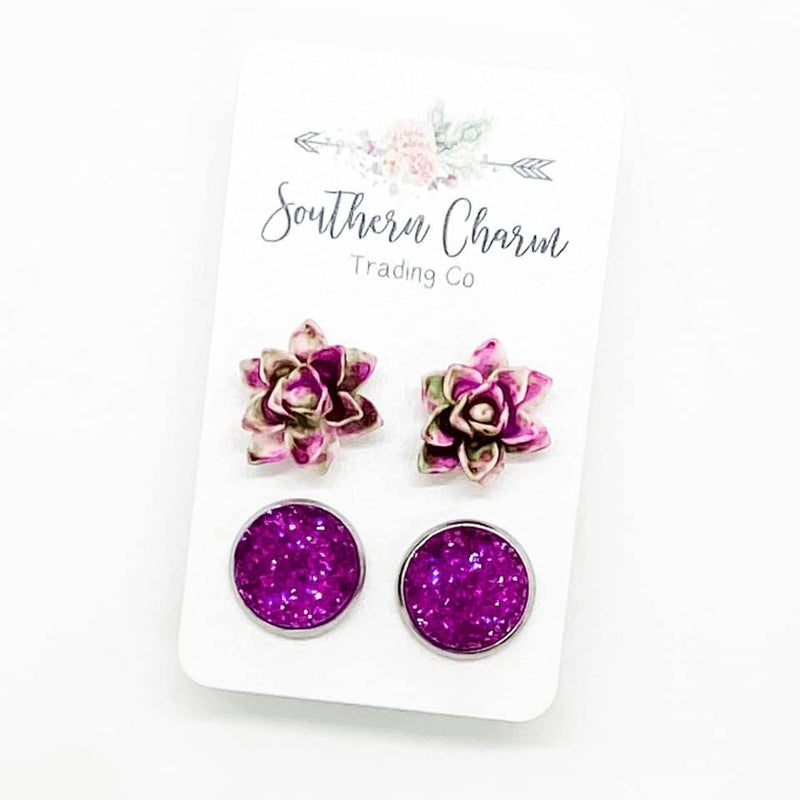 Magenta & Green Succulents & Magenta Sparkles Studs in Stainless Steel Settings