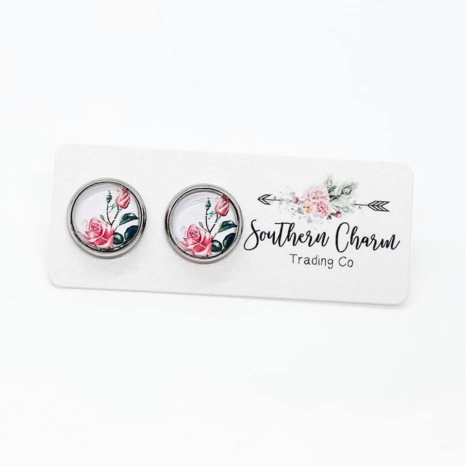 Pink Rose Studs in Stainless Steel Settings
