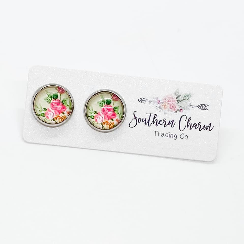 Pink & Mint Floral Studs in Stainless Steel Settings