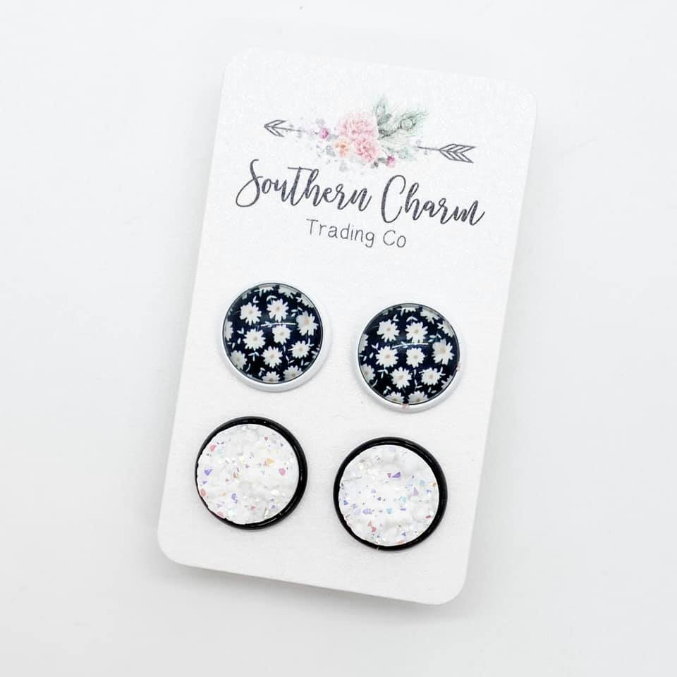 Sunflower in White & White in Black Studs