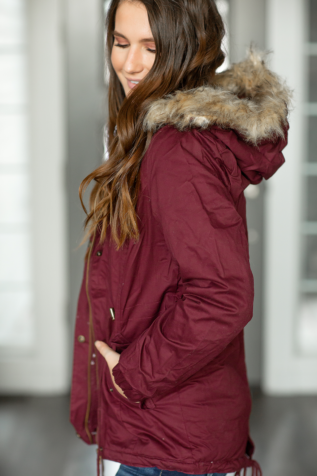 Problem Solved Faux Fur Lined Cargo Jacket in Burgundy