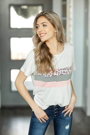 Far Away From Home Top in Heather Gray