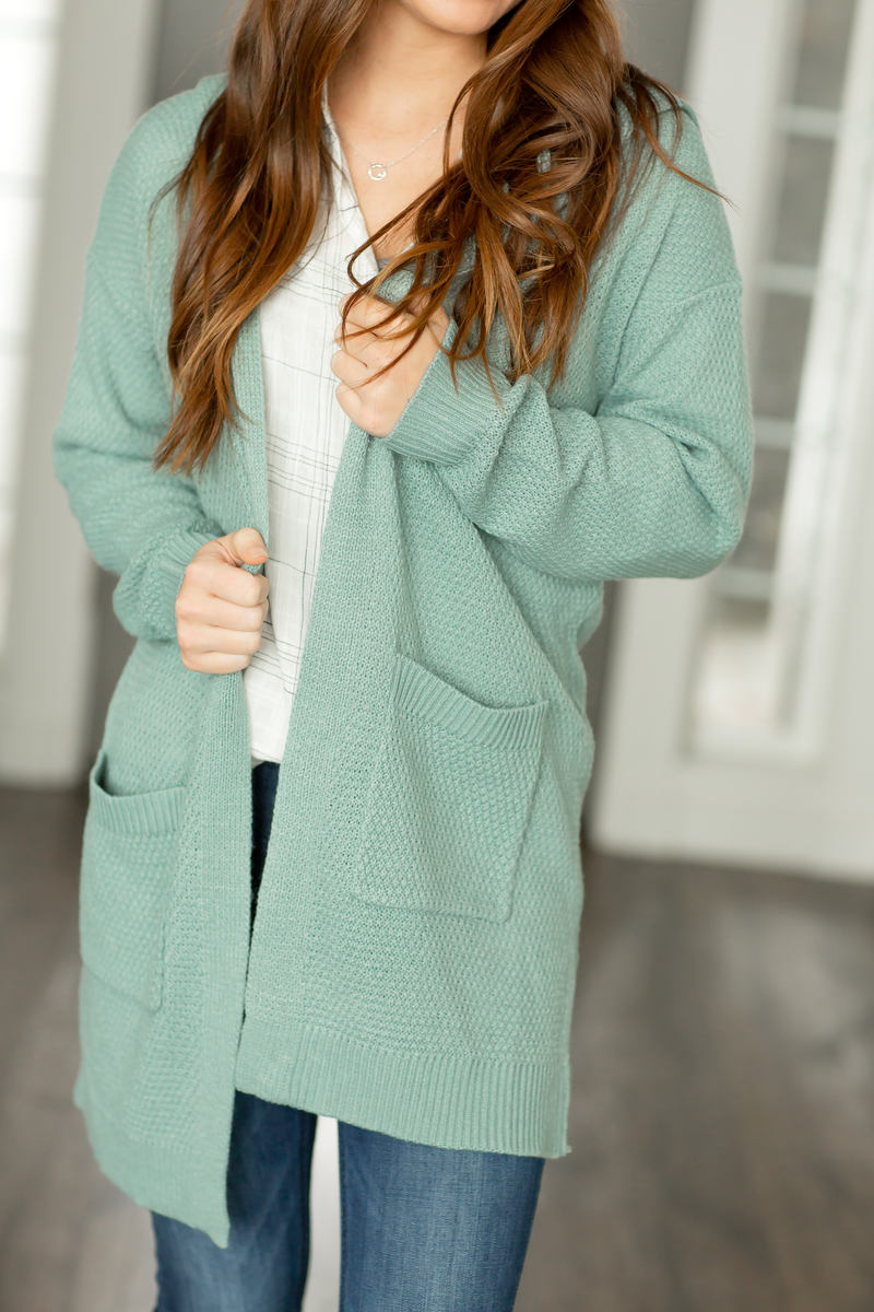 Missing You Knit Cardigan in Dark Aqua