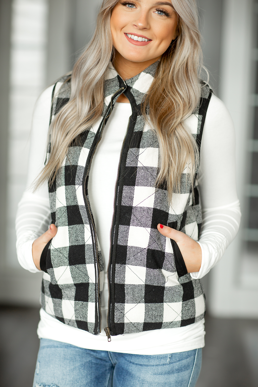 Last to Know Vest in Black and White Plaid