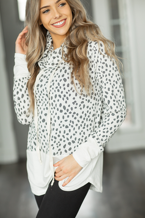 Crazy Beautiful Animal Print Cowl Neck Top