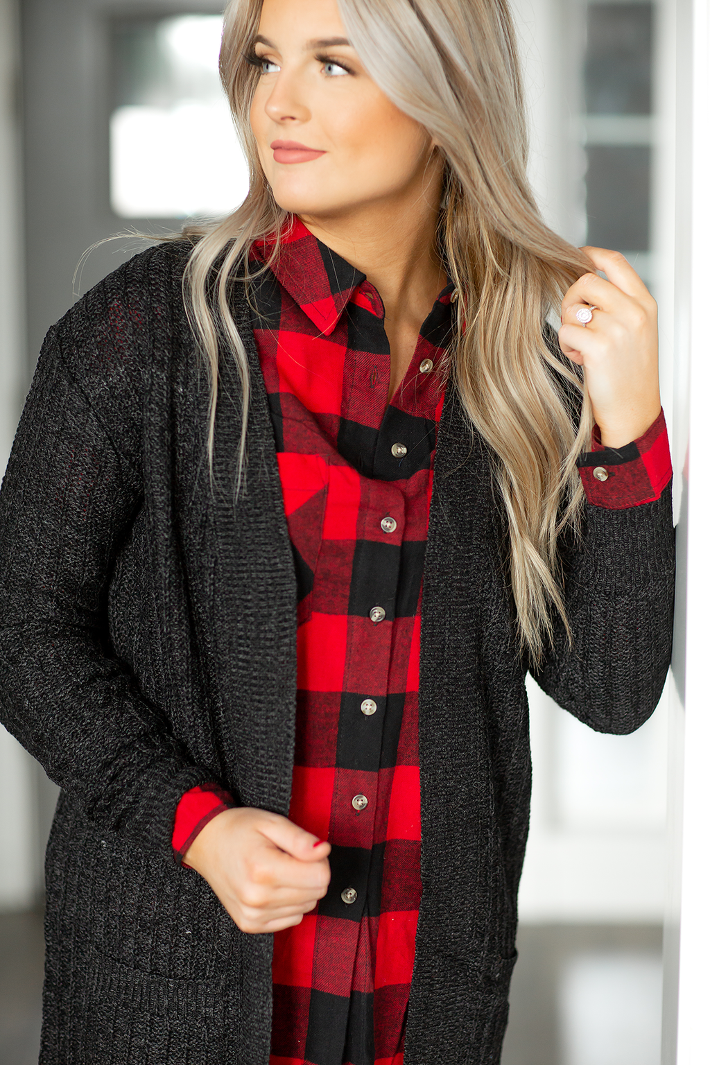 Waiting for You Sweater Cardigan in Heather Black