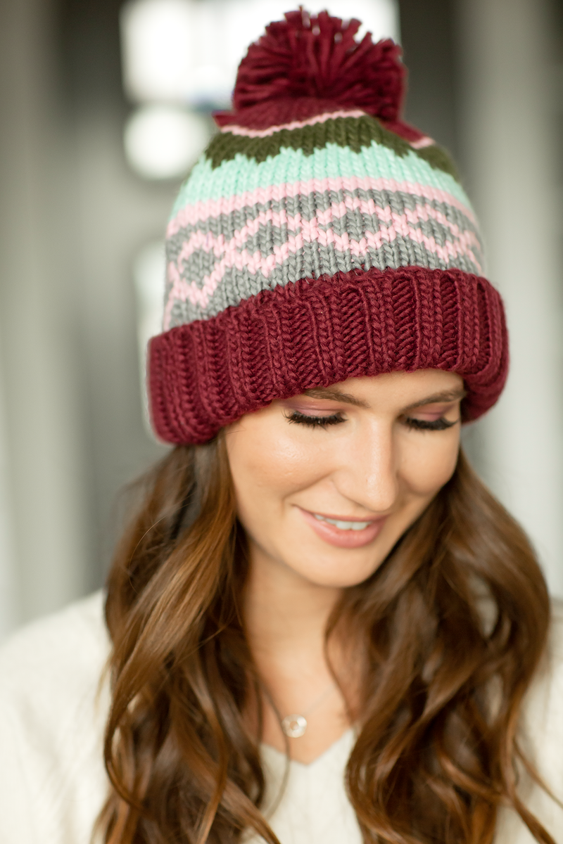 Cozy Knit Pom Beanie in Burgundy, Mint and Pink