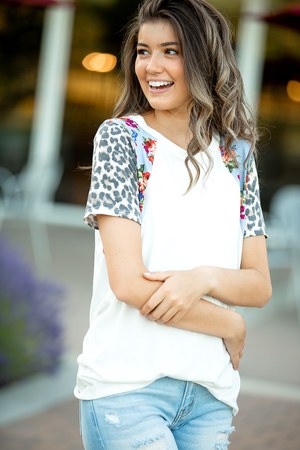 All of Me Cream Top with Floral and Animal Print Sleeves
