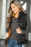 It Takes Two Cooler Weather Vest in Reversible Caramel & Black