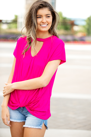 All My Love Fuschsia Open Neckline Twist Top