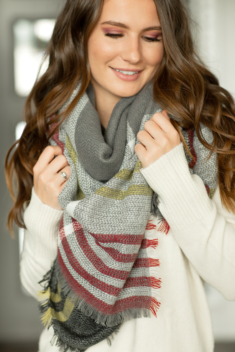 Plaid Blanket Scarf- Gray, Burgundy and Yellow