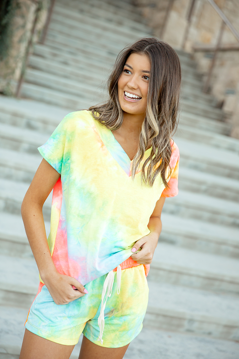 Better Believe It Neon Tie Dye Lounge Top