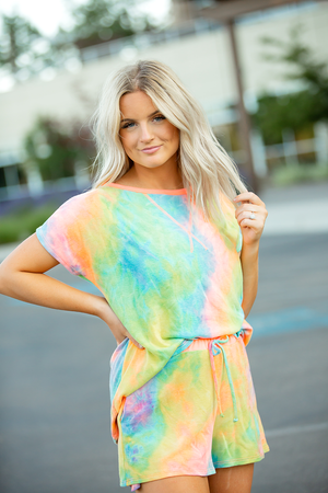 Give It Away Multi Color Tie Dye Top with Neon Coral Detail