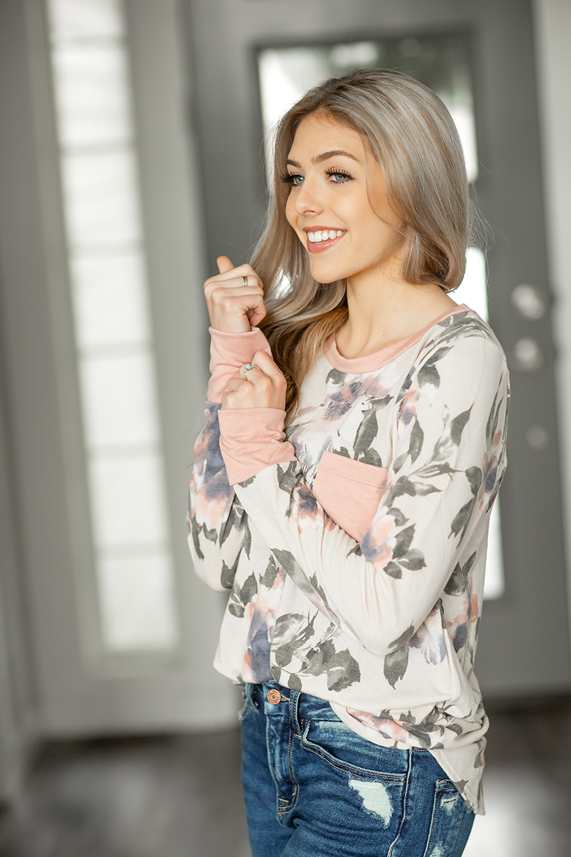 Crazy for You Floral Top in Cream