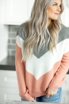 Stay With Me Sweater in Peach, Gray and White