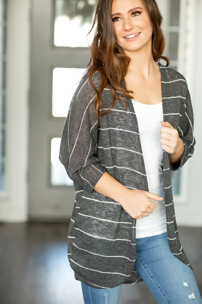 Winning Big Striped Cardigan in Charcoal with Lace Detail