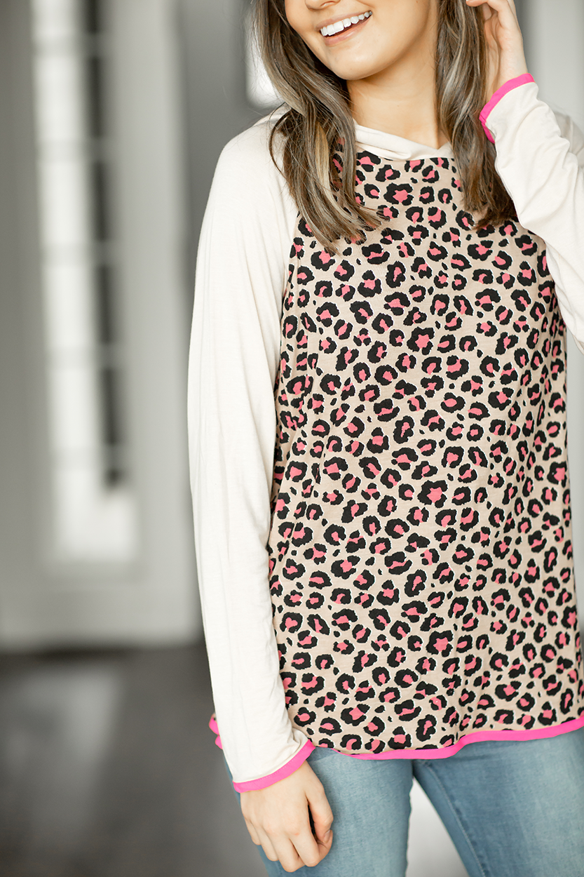Hold My Hand Animal Print Top in Beige and Pink
