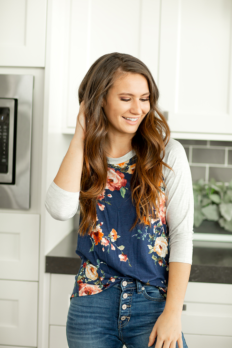 All for Floral Baseball Tee in Navy
