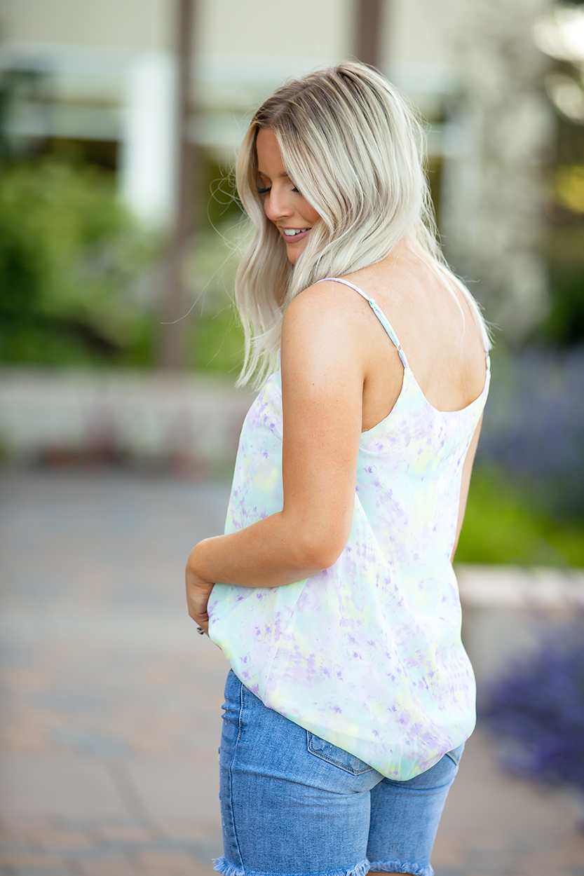 For All We Know Mint and Lavender Watercolor Tank