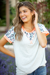 Keep It Going Striped and Blue Animal Print Top with Neon