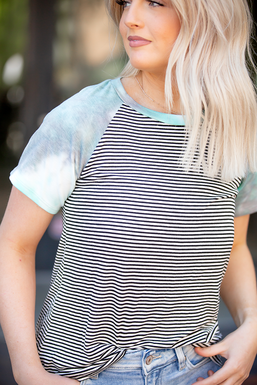 Oh Sweet Pea Aqua Tie Dye and Black Striped Top