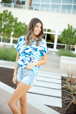 Best Kept Secret Blue Camo Top