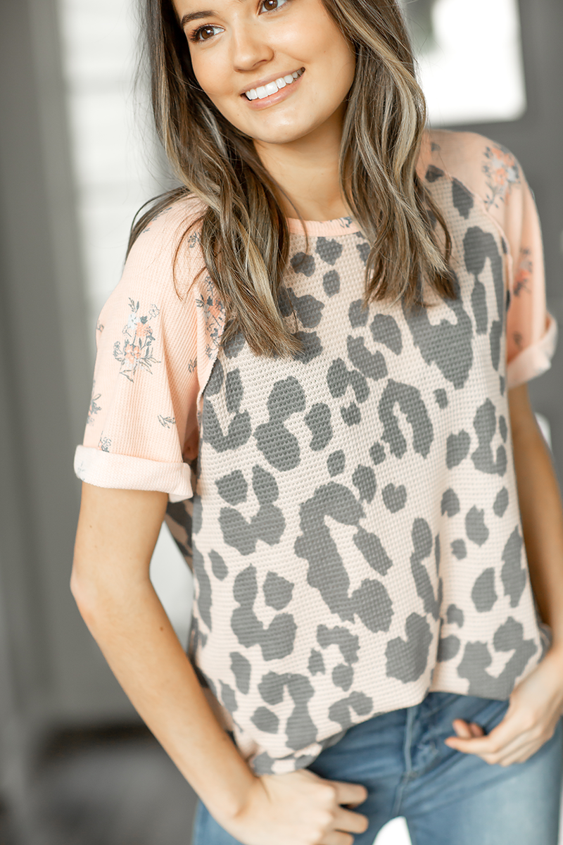Gotta Have It Floral and Animal Print Top in Peach