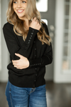 Stay the Night Button Up Cardigan in Black