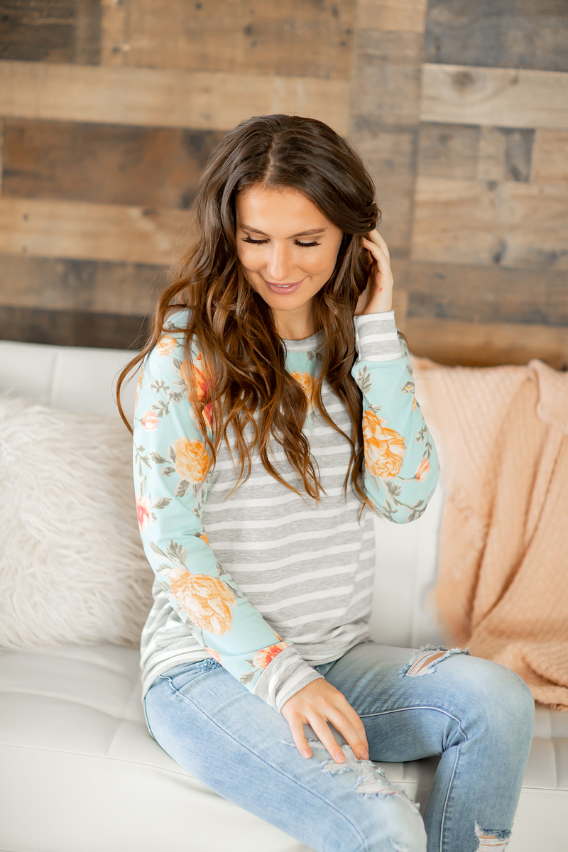 Watch Me Now Striped Top with Aqua Floral Sleeves