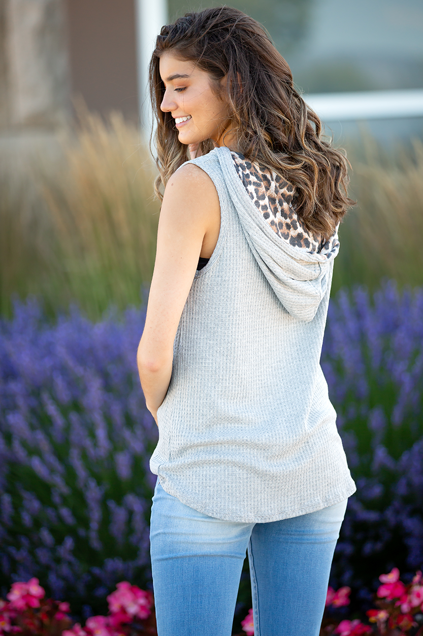 Dream Lover Grey Waffle Knit Tank with Hoodie
