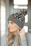 CC Knit Pom Beanie in Pink and Gray Animal Print
