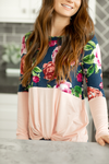 All My Love Floral Twist Top in Navy and Pink