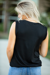 Wanna Have Fun Black Slouch Pocket Tank