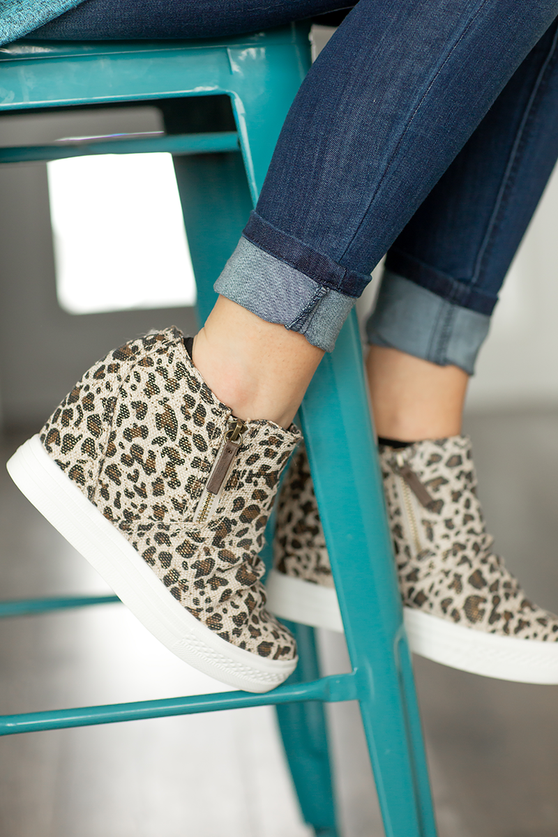 Not Rated Canvas Wedge Sneakers in Animal Print