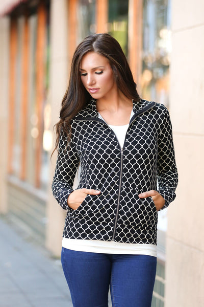 Style and Comfort Quatrefoil Zip Jacket (SALE)