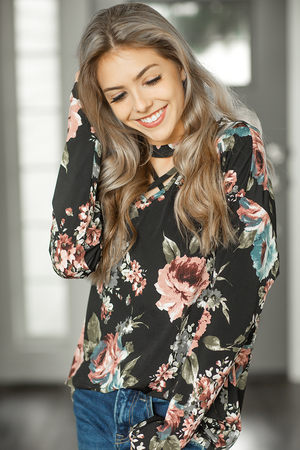 Find Myself Floral Criss Cross Top in Black