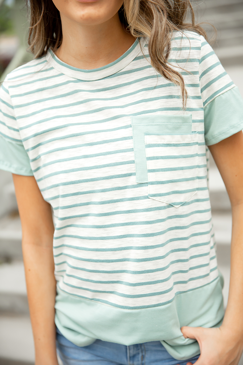A Spring in My Step Mint Double Pocket Tee