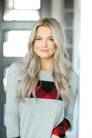 Better Days Buffalo Plaid Detailed Top in Gray