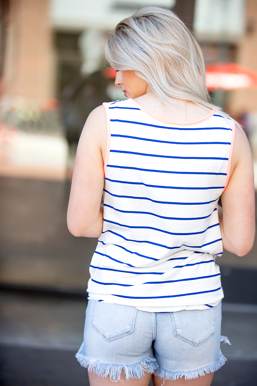 Always A Reason Royal Blue and White Striped Tank