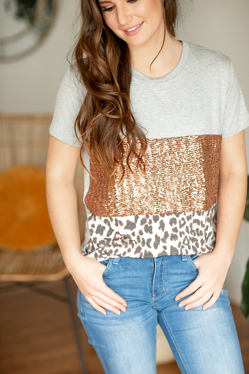 Good Decision Color Block Top in Gray, Sequins, and Animal Print