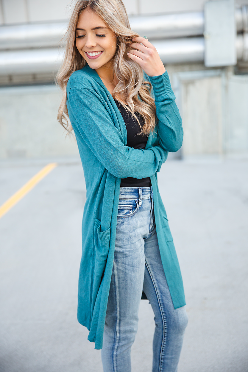 Heart Beats For You Cardigan in Teal