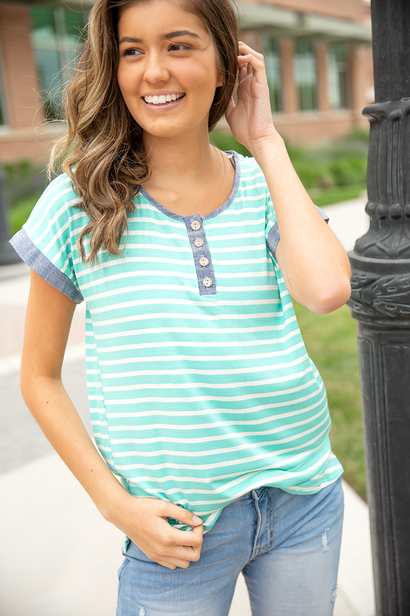 Count Me In Striped Mint Top with Denim Highlights