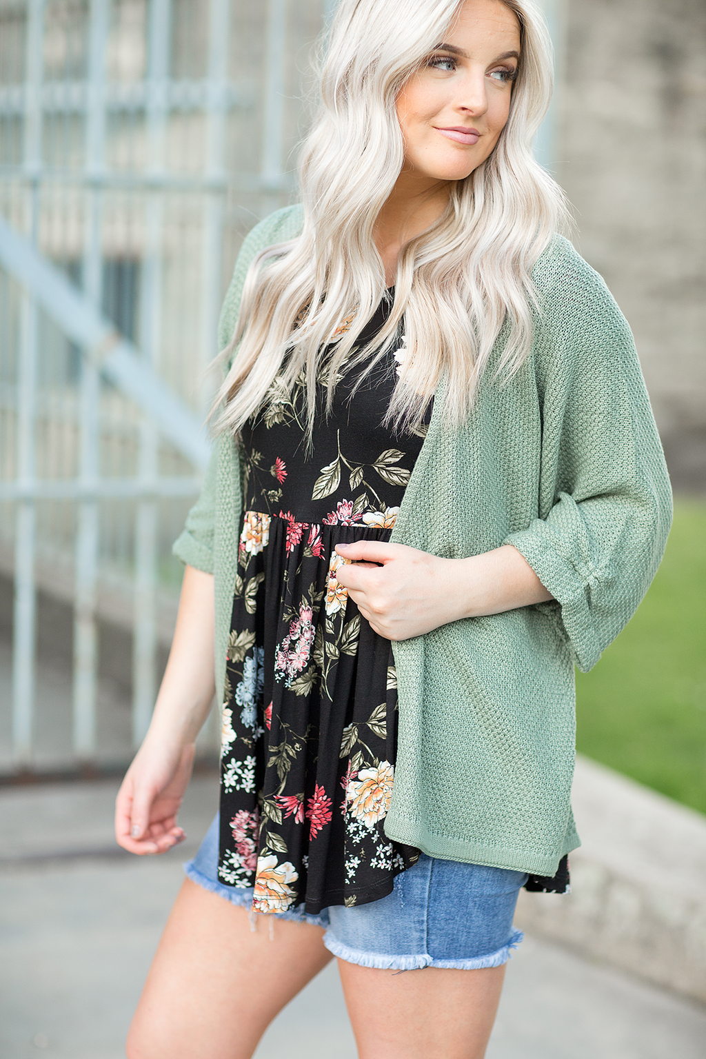 Here To Stay Sweater Cardigan in Sage