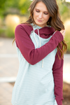 Feel The Love Striped Gray and Burgundy Double Hooded Sweatshirt