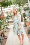 Back in Time Floral Dress in Mint