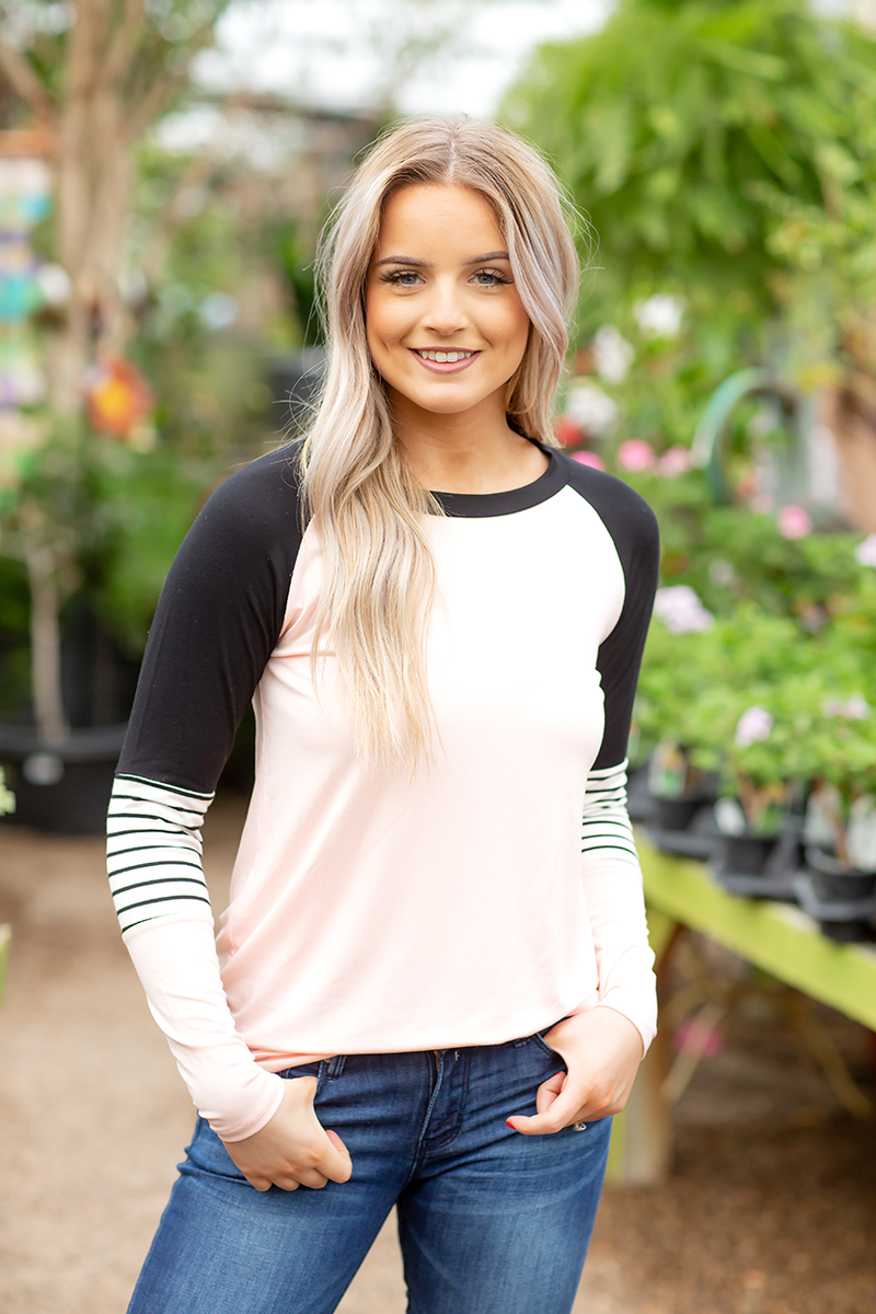 Always Motivated Tee with Stripes in Black and Peach
