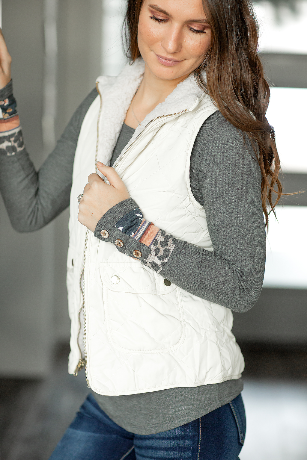 Forever Yours Reversible Vest in Ivory